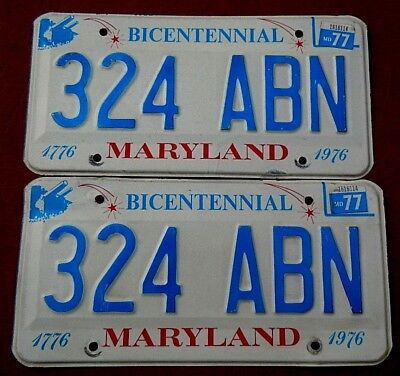 1977 YOM PAIR MARYLAND LICENSE PLATE TAG NUMBER 324 ABN CLASSIC MD BICENTENNIAL