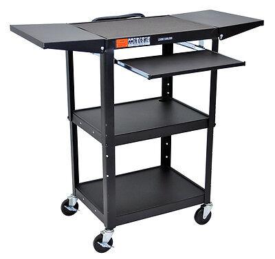 Luxor Adjustable Steel AV Cart With keyboard & Drop Leaf shelves AVJ42KBDL New