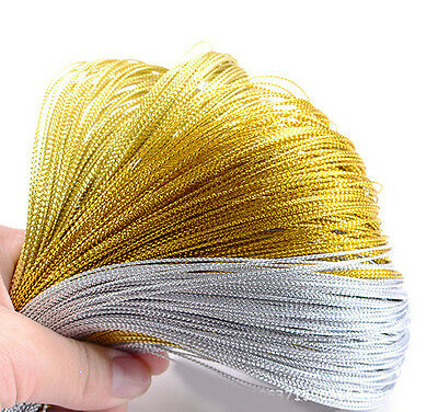 100M Metallic Gift Tag Cord(Non-Elastic) Gold/Silver Crafts Beading String 1.0MM - Gold String