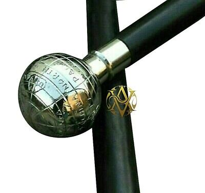 Antique Brass Globe Handle Walking Wood Cane Gift For Siblings Christmas Decor
