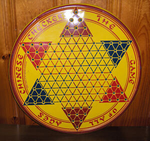 Vintage Chinese Checkers 3 in one Métal Back Gammon