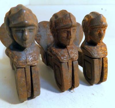 3 Unusual Antique Cast Iron Shutter Dogs w Drop-Down Roman Soldier Heads c1900