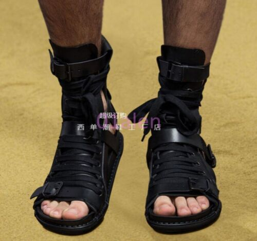 Mens Gladiator New Leather Lace Up High Top Boots Buckle Knight Roma Sandals Y13