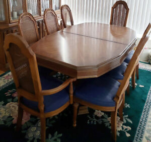 FRENCH Antique Pedestal Dining Table & 8 Cane Back Chairs