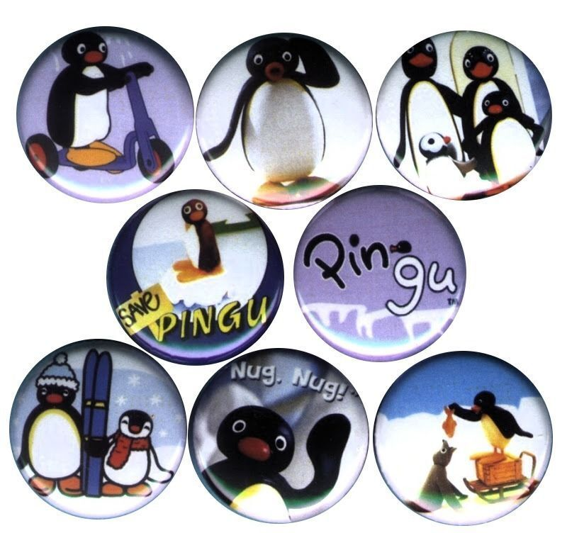 Pingu the Penguin Set of 8 Pins-Buttons-Badges *cute* Birthday Party Supplies