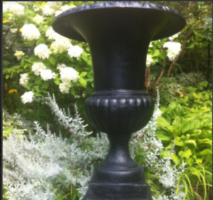 "Perfect 30"" Pair of Large Solid Cast Iron Urns / Planters"