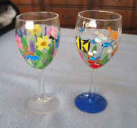 Hand Painted WINE / WATER GLASSES - Fish and Flowers City of Montréal Greater Montréal Preview