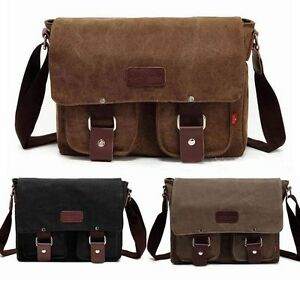 Men-039-s-Vintage-Canvas-Leather-Shoulder-Messenger-Bag-Tool-School-Bag-Satchel-101