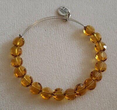 Alex & Ani GOLD TOPAZ GLASS BEADED Expandable Bangle Bracelet
