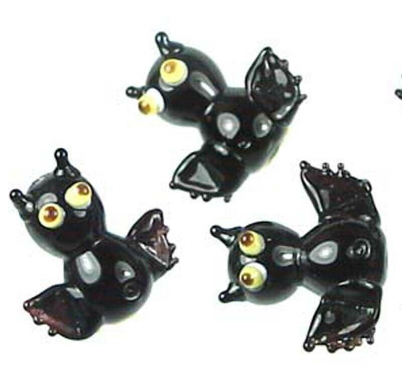4 Lampwork Handmade Glass Black Bat Halloween Beads