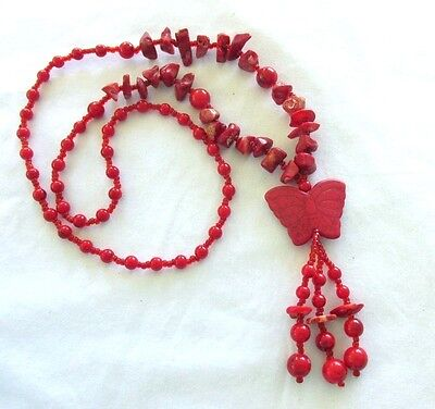 VTG RED GLASS CORAL BEAD NECKLACE WITH  BUTTERFLY  3 1/2