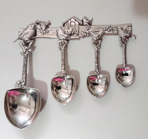 Bird Measuring Spoons Pewter Shovels Shaped