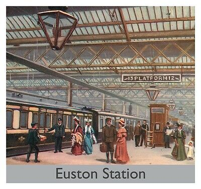 Euston Station (LNWR LMS Euston Station Railway Steam Train Blank Birthday Fathers Day Card)