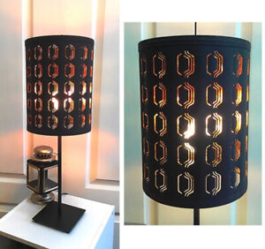 Interesting! Black & Bronze Shade with Metal Stand Table Lamp