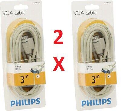 2 X CABLE VGA 3M PHILIPS SWV2713W/10 ORDENADOR MONITOR