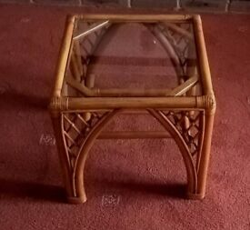 Bamboo coffee table, nice condition, 16 inches square, 15 1/2 inches high.