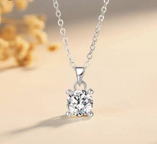 925 Silver Plated 2 carats Round Solitaire Cubic CZ Pendant Necklace N108 Fashion Jewelry