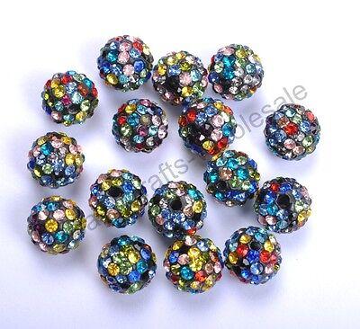20Pcs Multi-Colored Crystal Rhinestones Pave Clay Round Disco Ball Spacer - Multi Colored Disco Ball