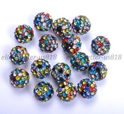 100Pcs Multi Colored Czech Crystal Rhinestones Pave Clay Round Disco Ball - Multi Colored Disco Ball
