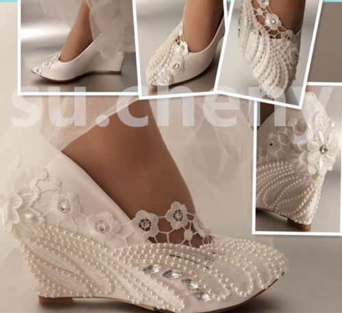 "su.cheny 3"" heel ivory lace pearls crystal high wedges Wedding Bridal shoes"