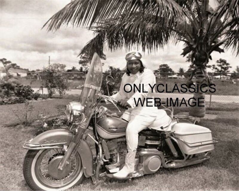 COOL BESSIE STRINGFIELD 8X10 PHOTO HARLEY DAVIDSON MOTORCYLE WOMAN PIONEER RIDER