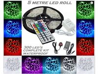 LED Light Strip Set with Transformer, Adapter and RC - Multicoloured RGB 50-50 SMD