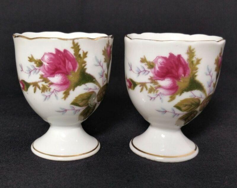 Vintage Porcelain Egg Cups Rose Design Set Of 2 Made In Japan