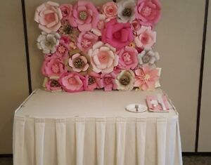 Paper Flower Wall Backdrop Rental