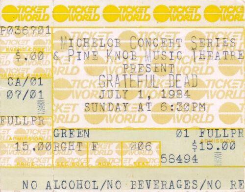 GRATEFUL DEAD TICKET STUB  07-01-1984  PINE KNOB MUSIC THEATRE