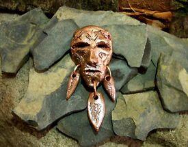 Shamanic mask - copper pendant