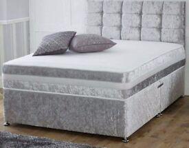 BRAND NEW - DIVAN SET - CRUSH VELVET BED - SALE NOW ON - DELIVERED FAST