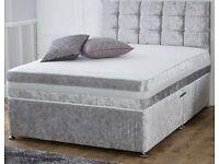 CRUSHED VELVET DIVAN BED WITH CRUSHED VELVET HEADBOARD & HIGH DENSITY SPRING MEMORY FOAM MATTRESS