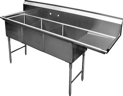 3 Compartment Ss Sink 15x15 With Right Drainboard