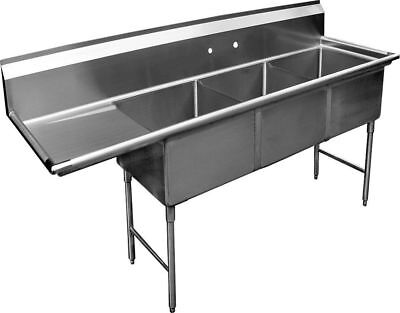 3 Compartment Ss Sink 15x15 With Left Drainboard Nsf