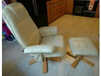 Cream Reclining Chair and footstool