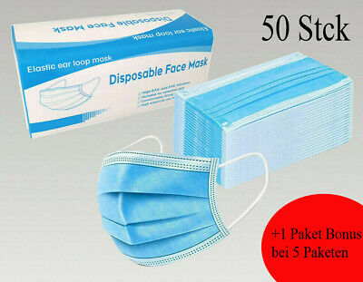 50 Stück Mundschutz Maske 3-lagig Hygienemaske Atemschutz Einweg Gummiband
