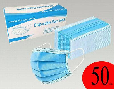 50x Mundschutz Maske 3-lagig Hygienemaske Atemschutz 3Lagig Einweg Gummiband