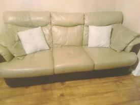 Tan and brown DFS leather mix sofa