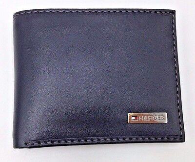 $107 TOMMY HILFIGER Men's BLACK LEATHER SLIM BILLFOLD 4CC CREDIT CARD ID WALLET
