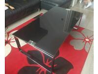 Large black glass coffee table 122x66cm