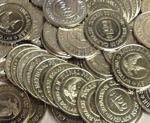 "25 x $1 National Pride Car Wash, BEAVERTON Oregon (Active) 1.073"" Tokens"