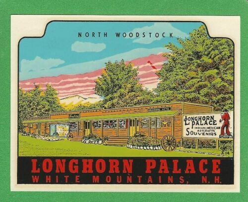 """VINTAGE ORIGINAL 1946 """"LONGHORN PALACE"""" NORTH WOODSTOCK N.H. WATER DECAL ART"""