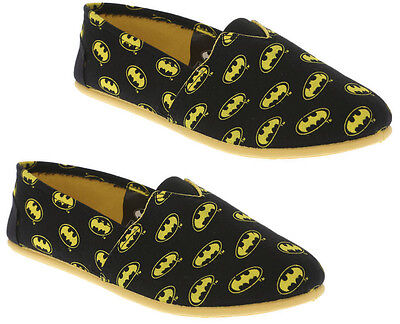 NEW DC COMICS SUPER HERO BATMAN LOGO CANVAS SLIP ON FLAT SHOES ADULT LADIES S-L
