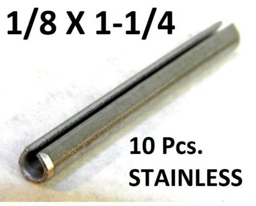 """(10 Pcs) 420 S.S. Slotted Roll Spring Pin 1/8"""" Dia x 1 1/4"""" Length STAINLESS NH"""