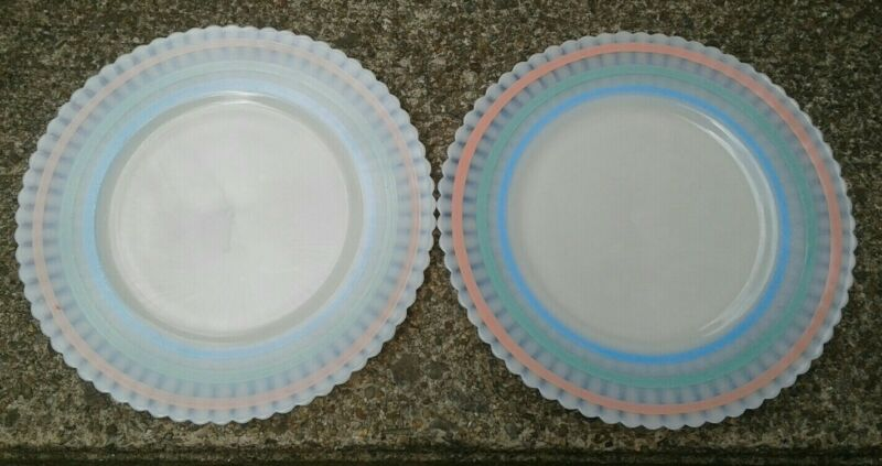 "Set of 2 Vintage MACBETH EVANS PETALWARE PASTEL BANDED MONAX 8"" Luncheon Plates"