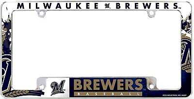 Milwaukee Brewers EZ View All Over Chrome Frame Metal License Plate Tag Cover