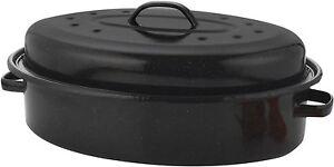 Roasting Dish Pan 36cm Vitreous Enamel Roaster Oven Baking Pan Tin with Lid