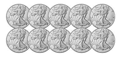 Lot of 10 - 2018 $1 1oz Silver American Eagle 0.999 BU