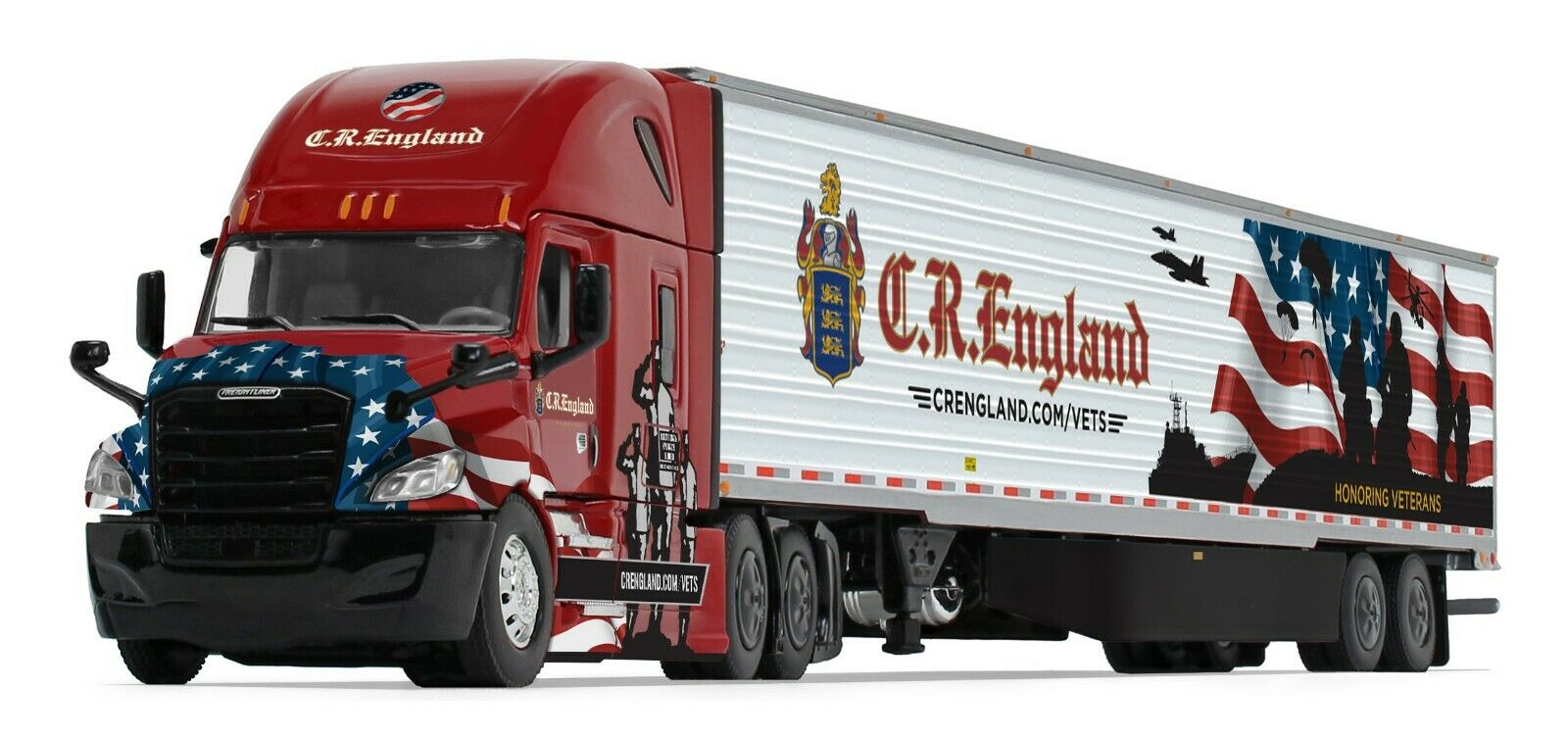 60-0541 1:64 1st Gear DCP Freightliner Cascadia High roof - CR England Veterans