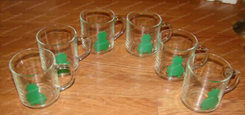 6-PIeces Stenciled Green Frog Design (Luminarc Clear Glass Mug